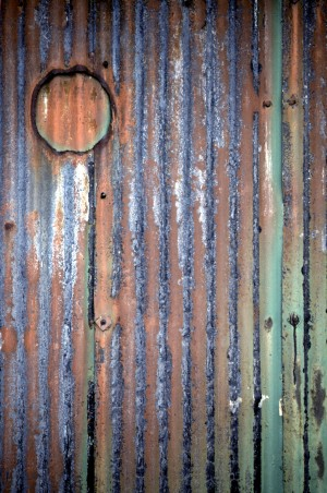 rusting iron shed
